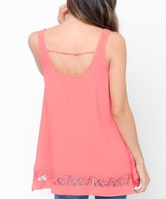 Coral Floral Lace-Accent Scoop Neck Tank #zulily #zulilyfinds
