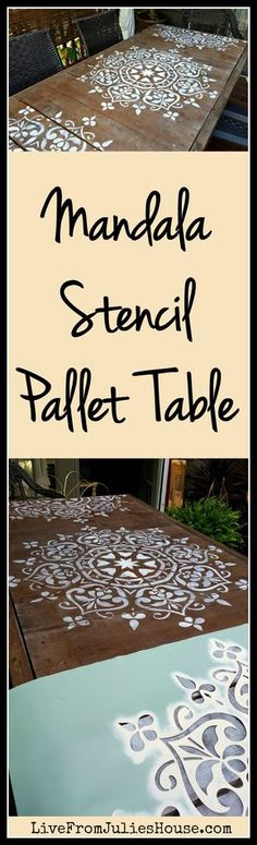 Mandala Stencil Pallet Table - I gave my plain-Jane pallet table a quick shot of…