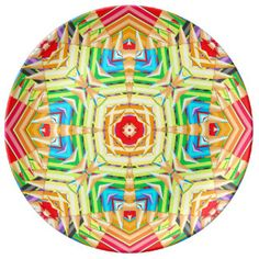 farbiges Bleistift Fraktal Porzellanteller