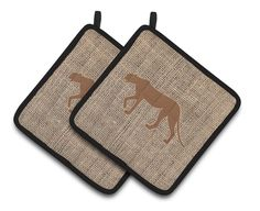 Leopard Faux Burlap and Brown Pair of Pot Holders BB1004-BL-BN-PTHD