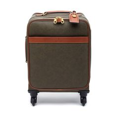 Four Wheel Trolley in Mole Scotchgrain with Cognac Trim | Travel Edit | Mulberry