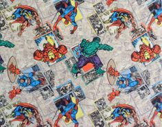 Superhero Fabric Retro Badge Material Fabric Cotton Marvel Superhero Material Hulk Retro Look Capt. America Retro Look Fabric  The price is for a 1-