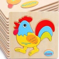 1pcs colorful Kid Wooden Animals Cartoon Picture Puzzle Kids Baby Educational Toys train children newborn early development