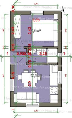 Este es el q mejor se adspta Small Apartment Layout, Studio Apartment Layout, Interior Design Living Room Warm, Hotel Room Design, Tyni House, Tiny House Cabin, Small House Floor Plans, Modern House Plans, The Plan