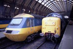 British Rail Inter-City 125 and Deltic - King's Cross Station Locomotive Engine, Electric Locomotive, Diesel Locomotive, National Rail, Network Rail, High Speed Rail, Standard Gauge, British Rail, Speed Training