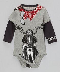 Biker Red Bandana Baby Twofer T-shirt by: Mini Shatsu Cute Outfits For Kids, Cute Kids, Boy Outfits, Little Boy Fashion, Kids Fashion, Boy Onesie, Onesies, Biker Baby, Baby Kids