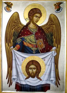 Angel ~~~ I haven't seen an icon before of an angel holding the Mandylion.