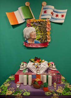 Part an ofrend(offering) by artists FatimGarciRuben GarciJr. National Museum Mexican Art's  exhibit 'Maggie Daley: A Tribute Chicago's Youth.' The