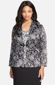 Alex Evenings Print Frog Closure Twinset (Plus Size) available at #Nordstrom