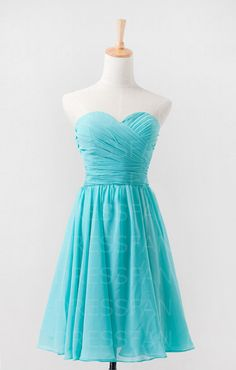 Bridesmaid dress/strapless/sheath column/sweetheart neckline/wedding/party/homecoming/tiffany blue/aqua blue/light teal