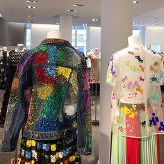 Rainbow sparkle hand embroidered denim jacket & tuttifrutti organza tee now available @colette #ashish #ss16 #denim #sequins #tuttifrutti #rainbow #holi #beading #handembroidered repost from @modaveotesi_