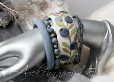 Bangle set with a blueberries - Bracelet set - 4pcs -  Polymer clay bangles - Jewelry - Bangle with a berries
