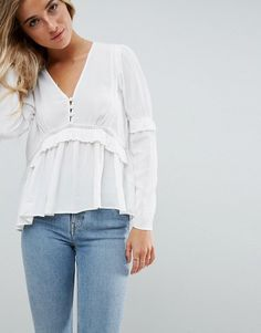 asos smock blouse with lace and ruffle detail