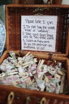 """Bridal shower game... """"Don't say these words""""- instead of pins could also use rings, bracelets, etc."""