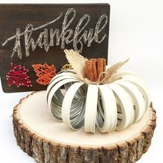 * Please check current Shop Announcement before purchase!! *  Our decorative home grown pumpkins make the perfect fall decor in any shabby chic, whimsical or rustic setting! The look perfect upon a mantle, as a table centerpiece or even on an office desk! The uses for this little pumpkin are limitless! Each pumpkin is made out of HAND PAINTED (no spray paint here, ever!) mason jar lids and then each is sealed with a matte sealant. We then use cinnamon sticks to create a stem, burlap leaves…
