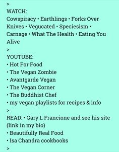 My Instagram is TheBookFeast and this info/resource list is part of my spiel to help ppl go #vegan It's not exhaustive but there's plenty here to get along with, so feel free to save and check out at your leisure. And please #GoVegan ☮