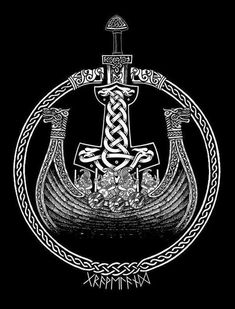 Now that would be an AWESOME Tattoo..... Viking Ship & Thor's Hammer~