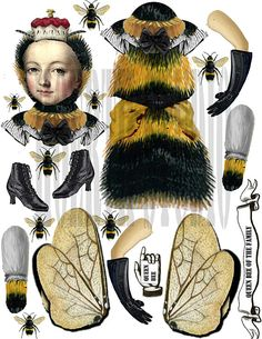 Steampunk vintage Paper doll Queen bee of the family bee doll for Mothers day card instant gift collage card printable victorian bee - Crafts - Victorian Paper Dolls, Vintage Paper Dolls, Victorian Dollhouse, Modern Dollhouse, Paper Puppets, Paper Toys, Holly Hobbie, Paper Art, Paper Crafts