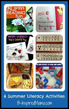 6 Summer Literacy Activities to keep kids reading and learning throughout the summer (from the Kids Co-Op at B-InspiredMama.com)