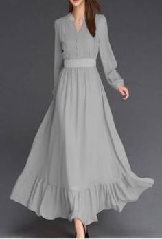 Solid Buttons V-Neckline Maxi A-line Dress Chiffon Solid Long Sleeve Maxi Buttons Dresses Muslim Fashion, Modest Fashion, Hijab Fashion, Fashion Outfits, Dress Fashion, Cheap Fashion, Trendy Fashion, Trendy Clothing, Clothing Stores