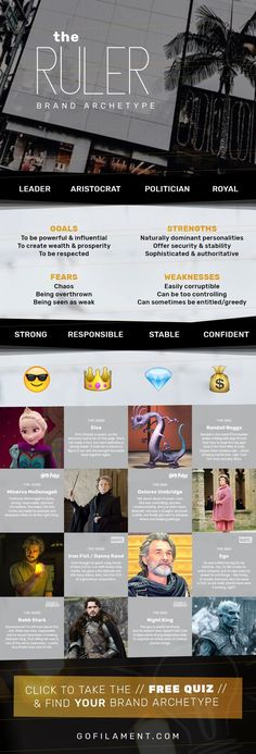 The Ruler // Brand Archetypes // The Ruler is also called the Royal, Sovereign, Aristocrat, Politician, Leader, or Ambassador. Ruler brands strive for structure & stability by promoting power & control. They're usually known for their responsibility, leadership, control, organization, and structure so their customers always feel like they're safe & secure with the brand. // Find your Brand Archetype now at gofilament.com/what-the-eff-is-a-brand-archetype