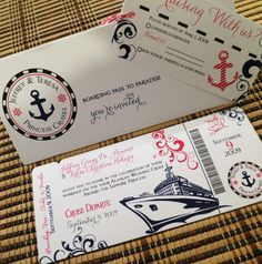 Items Similar To Boarding Pass Invitation Or Save The Date (Sea Of Love)  Cruise Beach Invitation (Deposit/Design Fee) On Etsy