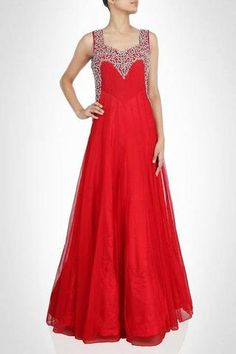 This red color maxi gown is made in net fabric. This gown have zircon work on the shoulder which gives this gown a different look. Party Gown Dress, Party Wear Dresses, Party Gowns, Dress Up, Red Gowns, Maxi Gowns, Evening Dresses, Engagement Gowns, Indowestern Gowns