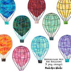 Hot Air Balloon Clipart, Hot Air Balloon Paper, Watercolor Texture, Balloon Decorations, Art Auction, Original Image, Printable Wall Art, Art Images, Balloons