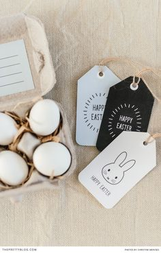 Easter DIY! Print out these beautiful tags and give someone a sweet little egg box! Designed by: Nooi Stationery