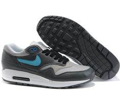 Mens Nike Air Max 1 Medium Grey Flint Grey Chlorine Blue Shoes $ 55.29