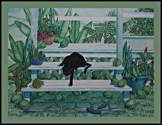 Black #cat in  #Maui #Hawaii #garden #catart @ca