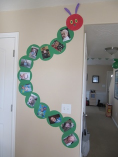 Very Hungry Caterpillar Party. Caterpillar wall decoration, with photos of the birthday boy or girl on the body. Great for a themed party. First Birthday Parties, First Birthdays, Birthday Ideas, 2nd Birthday, Birthday Wall, Birthday Month, Birthday Photos, Chenille Affamée, Preschool Crafts