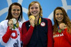 Silver medalist Jazz Carlin, gold medalist Katie Ledecky and bronze medalist…