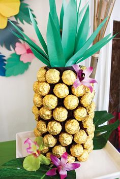 Tropical Oasis Hawaiian Luau Birthday Party: Chocolates decorated like a pineapple