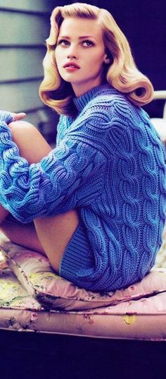 laura-stone-blue-cable-sweater LBV ♥✤ | KeepSmiling | BeStayClassy