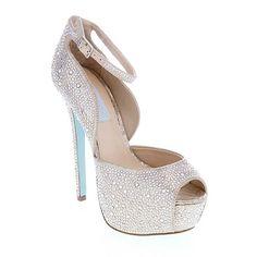 "MUST HAVE!!! Betsey Johnson ""Kiss"" Jeweled Satin Platform Peep-Toe Pump at HSN.com"