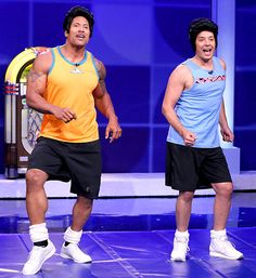 """Dwayne """"The Rock"""" Johnson and Jimmy Fallon played retro fitness experts the Fungo Brothers in an LOL skit for The Tonight Show. Check out those muscles!"""