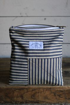 1940's era Ticking Fabric Utility Pouch