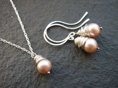 Silver Wire-wrapped Pearl Drop Jewellery Set