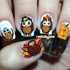 bird nail, thanksgiv nail, pumpkin nail, nail nail, nail art, thanksgiving nails, thanksgiv owl