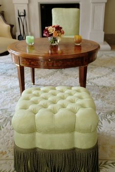 Custom Napoleon III Style Tufted Ottoman with Pierre Frey Fabric Vivaldi Moiré and Houles Fringe