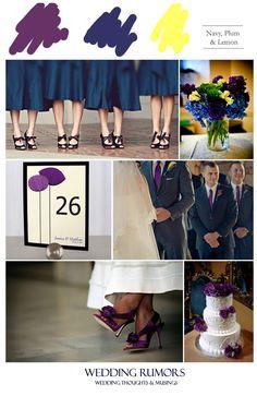 blue bridesmaid dresses with orange flowers | Inspiration Board: Navy, Plum & Lemon