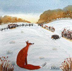 Original Watercolour Painting: BIRDS: ANIMALS: FOX & HEDGEHOG IN SNOWY MEADOW | eBay