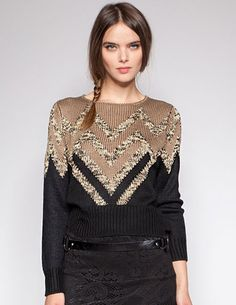 Metallic Zigzag Knit Sweater