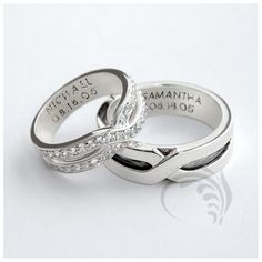 Attractive 14k White Gold Polished His and Hers Matching Wedding Rings 0.36 Ct 6mm Wide