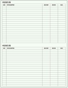Printable Mileage Log Sheet Template | Projects to Try | Pinterest ...