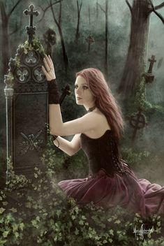 Tutorial:Until the end of time by FantasyMaker on DeviantArt Dark Gothic, Gothic Art, Gothic Girls, Fantasy World, Fantasy Art, Divas, Gothic Images, Gothic Angel, Gothic Steampunk