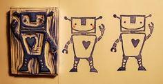 #stamp #stempel #zelfgemaakt #hand carved stamp #handgesneden stempel #robot stamp #robot stempel