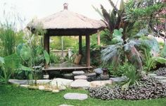 Balinese garden design with gazebo Balinese Garden, Bali Garden, Dream Garden, Modern Tropical House, Tropical Houses, Tropical Gardens, Outdoor Rooms, Outdoor Gardens, Outdoor Living