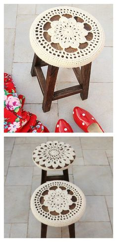 Crocheted Floral Medallion Stool Cover, perfect for updating your seating and making your stools and chairs feel brand new - Free Pattern